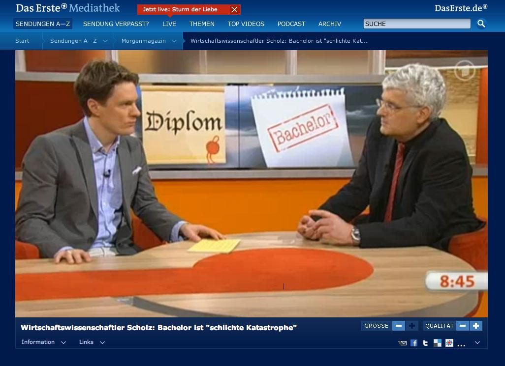 Bologna Bilanz Und Ausblick Prof Scholz Im Ard Morgenmagazin